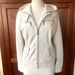 New With Tags White Vegan Leather Hooded Jacket